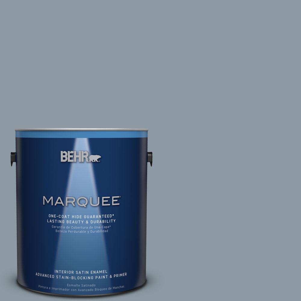 1 gal. #N490-4 Teton Blue One-Coat Hide Satin Enamel Interior Paint