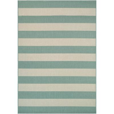 Afuera Yacht Club Sea Mist-Ivory 2 ft. x 4 ft. Indoor/Outdoor Area Rug
