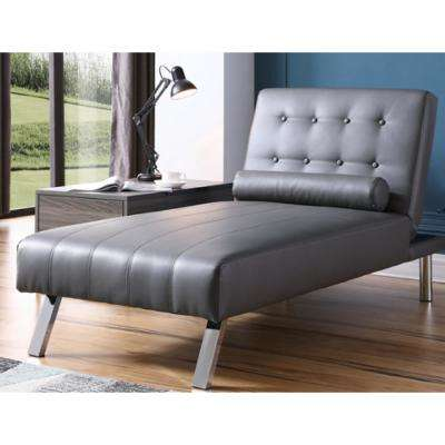 Gray Button Tufted Back Convertible Chaise Lounger with Lumber Support Pillow