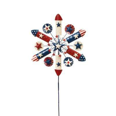 38 in. Tall Metal Patriotic Firecracker Yard Stake with Wind Spinner