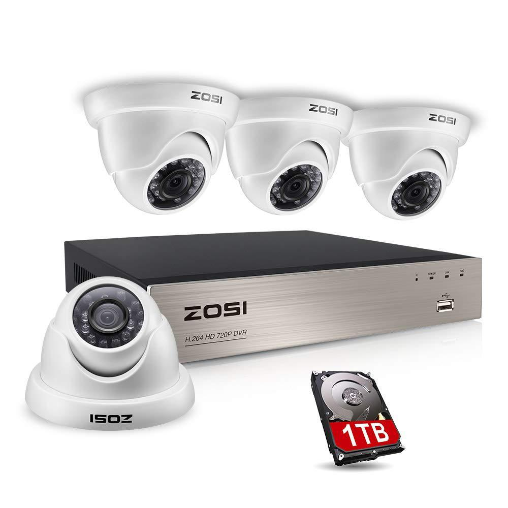 ZOSI 8-Channel 720p DVR 1TB Security Camera System with 4-Wired Dome Cameras
