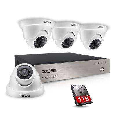 8-Channel 720p DVR 1TB Security Camera System with 4-Wired Dome Cameras