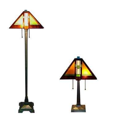 Tiffany Aztec 60/23 in. Bronze Floor and Table Lamp Set