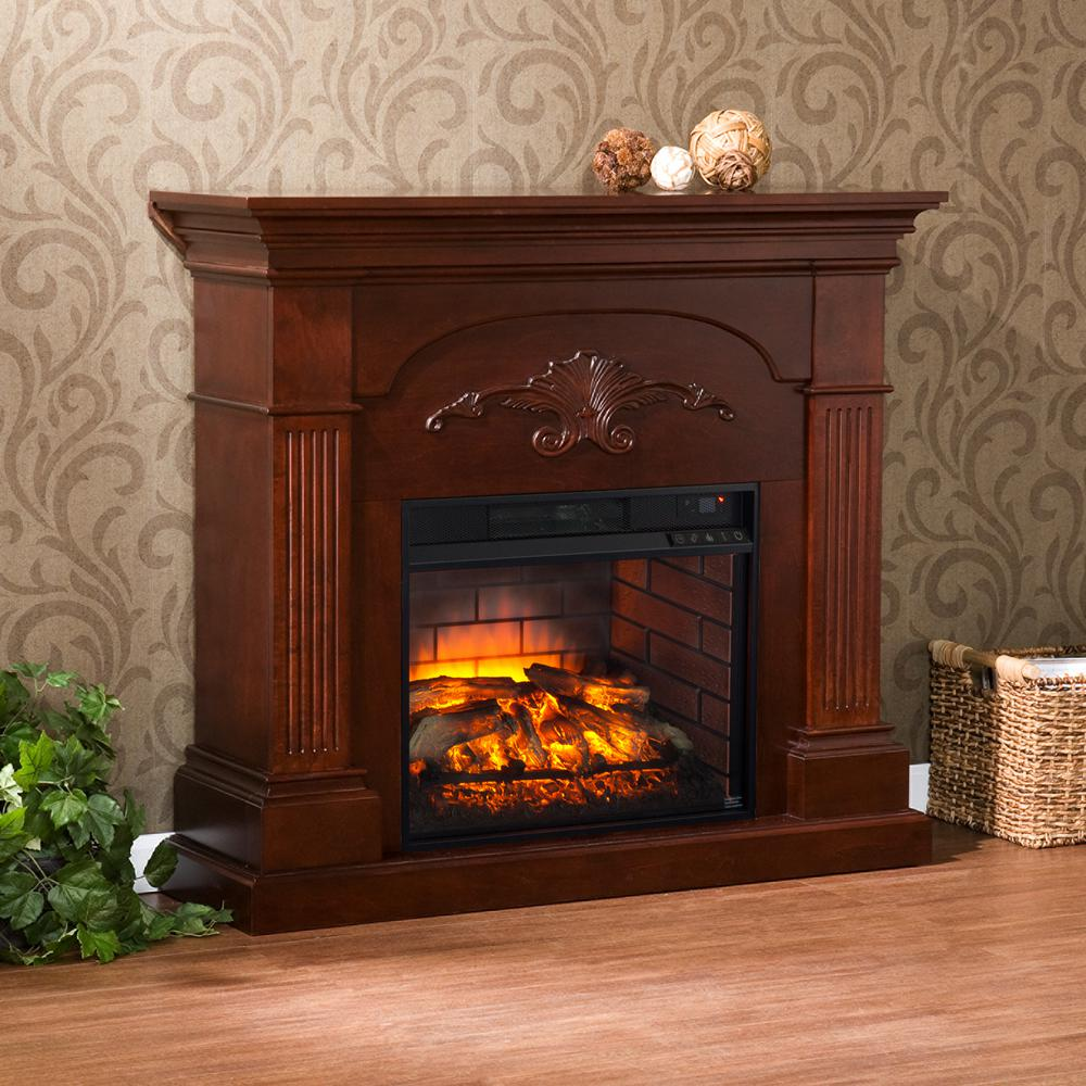 Dover 44 75 In W Infrared Electric Fireplace In Mahogany