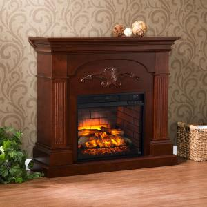 Dover 44.75 inch W Infrared Electric Fireplace in Mahogany by