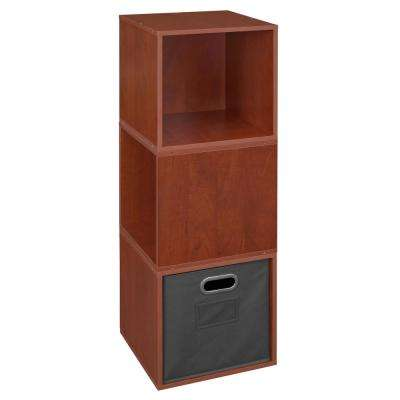 Cubo 39 in. H x 13 in. W Cherry/Grey 3-Cube and 1-Bin Organizer