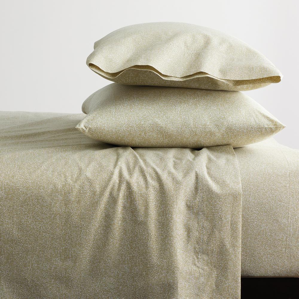 LoftHome Maze 3-Piece Khaki Geometric 200-Thread Count Organic Cotton Percale Twin Sheet Set