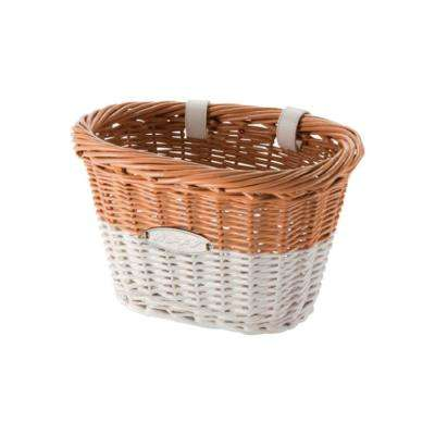 Chesapeake 10 in. White and Natural Wicker Handlebar Basket