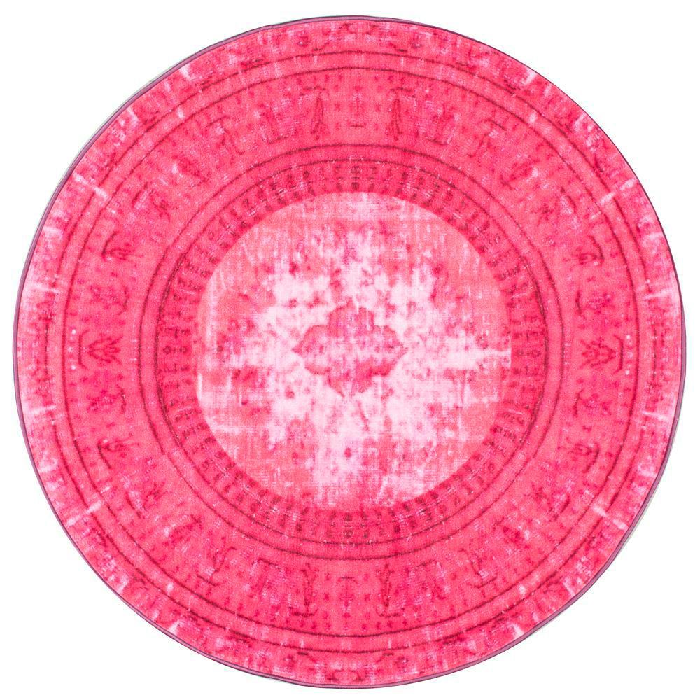 Chroma Overdyed Style Pink 5 Ft. X 5 Ft. Round Area Rug