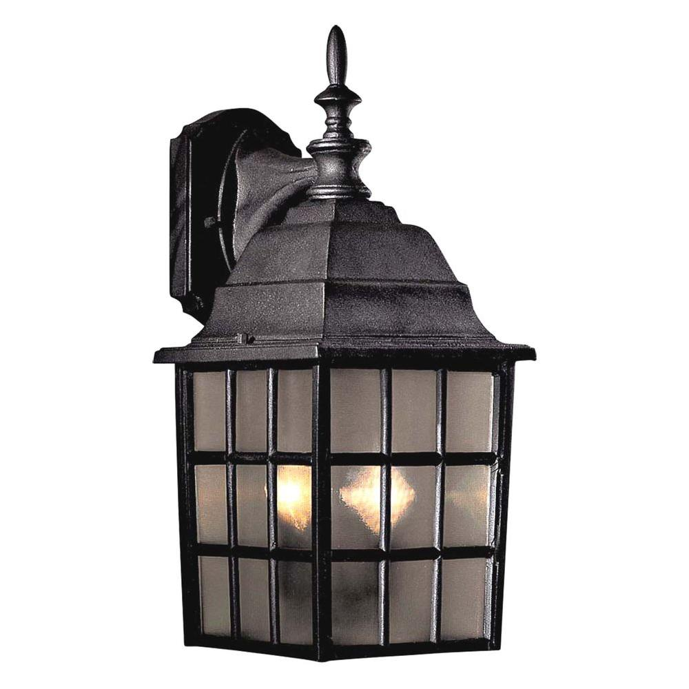 the great outdoors by Minka Lavery Bridgeport 2-Light Black Outdoor Wall Mount Lantern