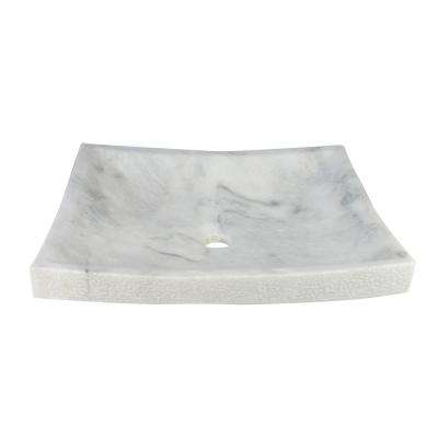 Rectangle Marble Textured Stone Vessel Sink in White