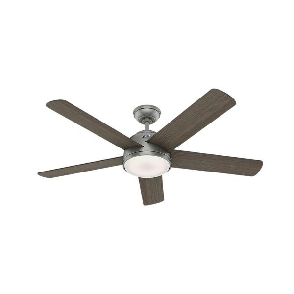 Romulus 54 in. Integrated LED Indoor Matte Silver Smart Ceiling Fan with Light Kit and Remote Control