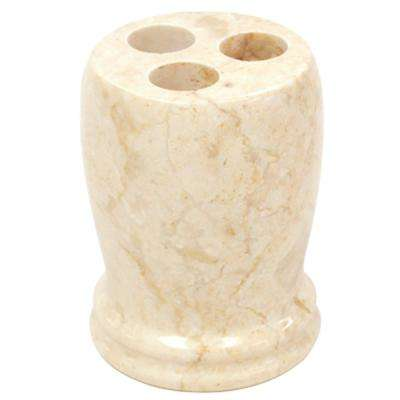 Double Ring Natural Marble Toothbrush Holder in Champagne Color