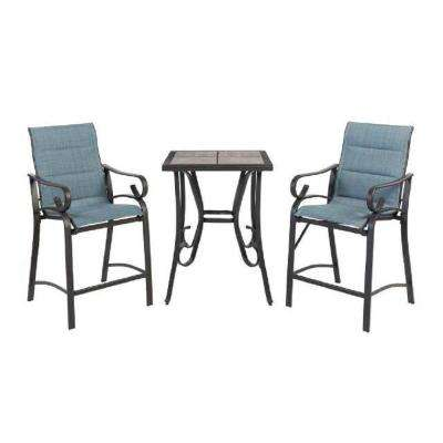 Crestridge 3-Piece Padded Sling Balcony Height Outdoor Bistro Set in Conley Denim