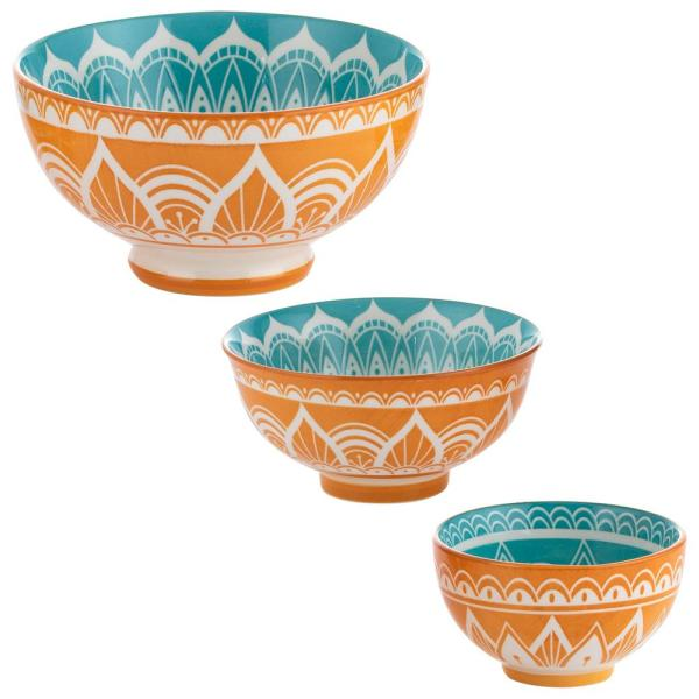 World Foods 23.5 fl. oz., 8.8 fl. oz. and 6.7 fl. oz. India White Stoneware Decorative Bowls (Set of 3)