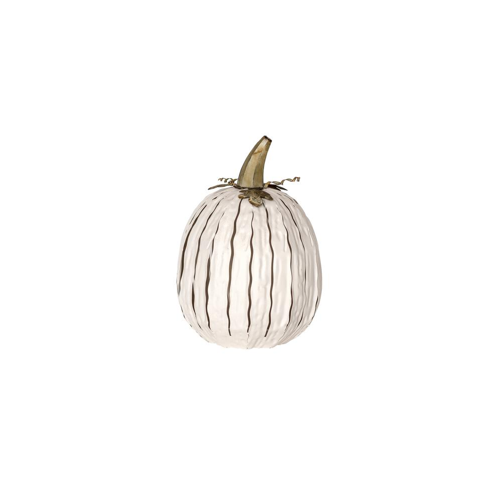 18 in. x 12 in. White Powder Coated Tall Pumpkin Luminary