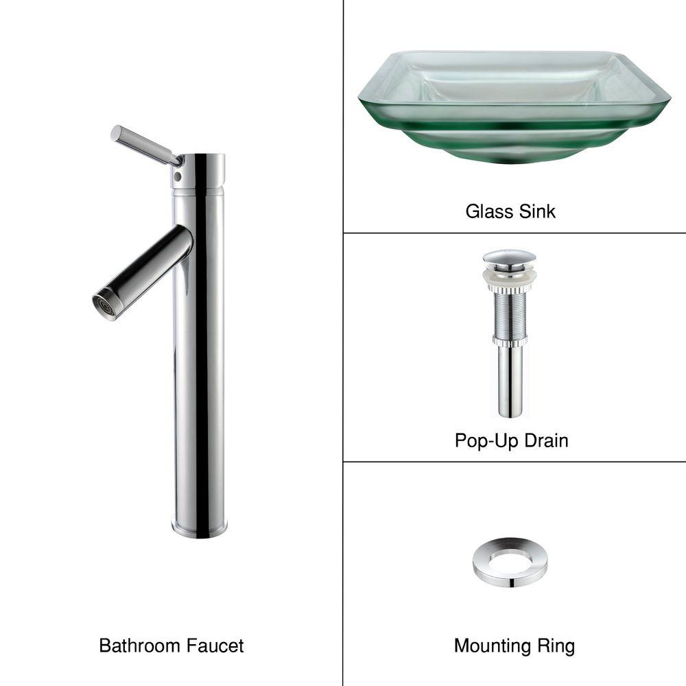 KRAUS Oceania Glass Bathroom Sink in Frosted with Single Hole Single-Handle Low-Arc Sheven Faucet in Chrome-DISCONTINUED