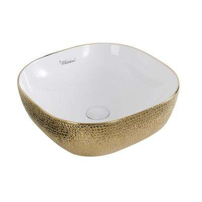 Isabella Plus Collection Square Above Vessel Sink in White and Gold with an Embossed Exterior