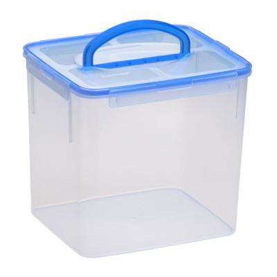 Airtight 40-Cup Plastic Storage Container with Blue Handle