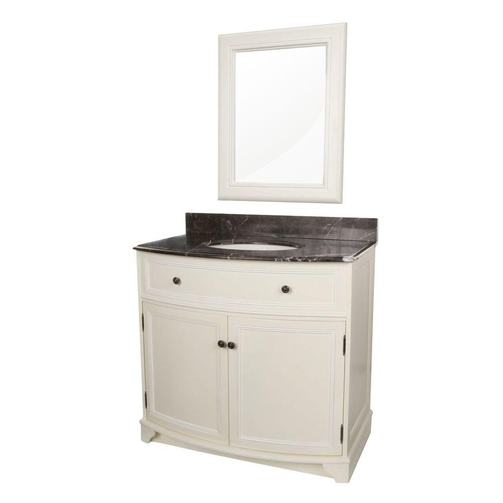 Foremost Arcadia 37-1/4 in. Vanity in Frost White with Marble Top in Dark Emperador and Mirror