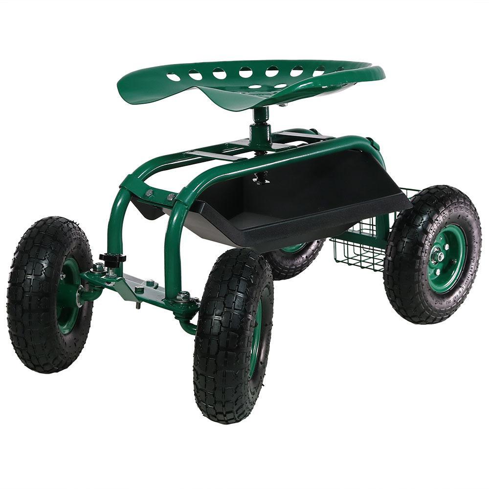 Green Steel Rolling Garden Cart with Steering Handle, Swivel Seat and Basket