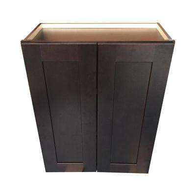 Plywell Ready to Assemble 24x30x12 in. Shaker Double Door Wall Cabinet with 2 Adjustable Shelves in Espresso