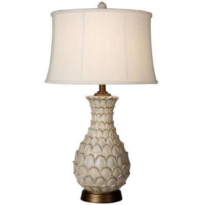 30.8 in. White Table Lamp with White Softback Fabric Shade
