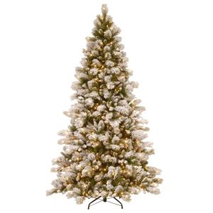 7-1/2 ft. Snowy Westwood Pine Hinged Artificial Christmas Tree with 650 Clear Lights