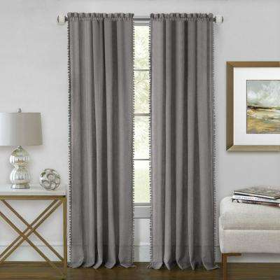 Wallace 52 in. W x 63 in. L Polyester Rod Pocket Curtain Panel in Grey