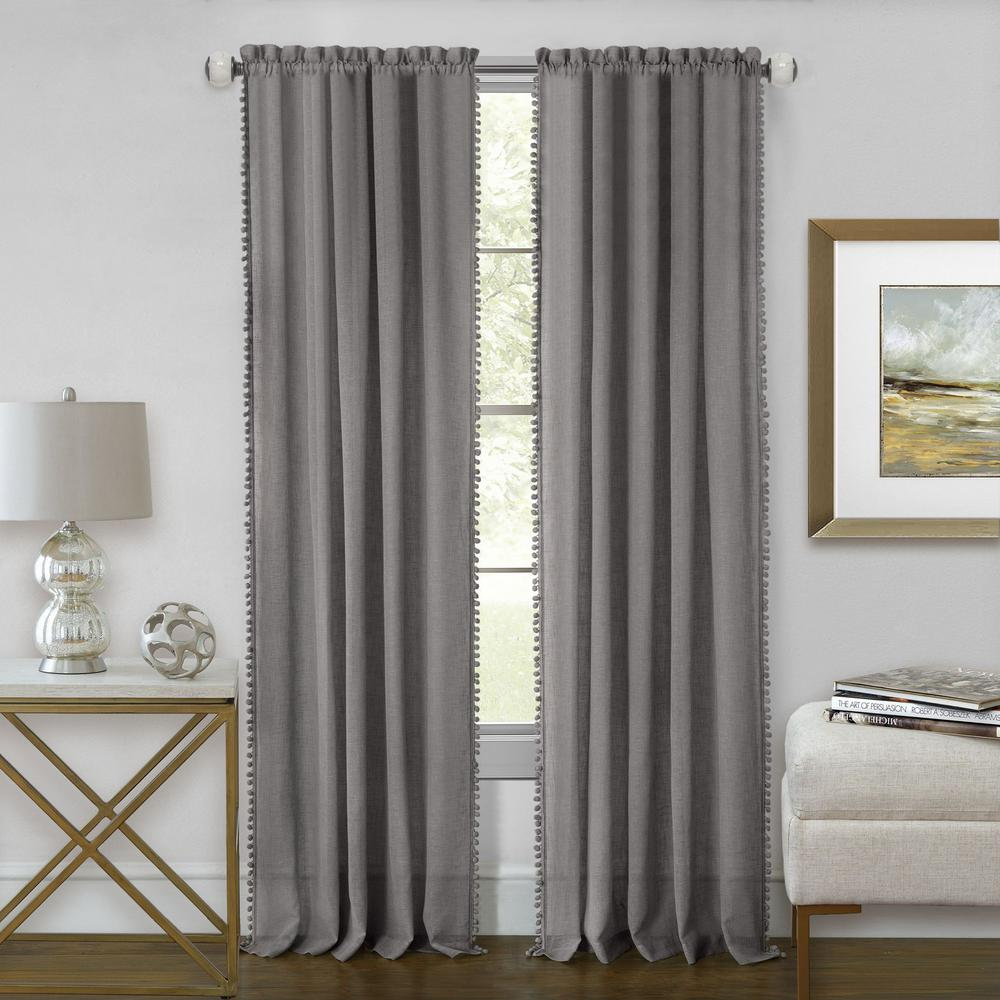Achim Wallace 52 in. W x 84 in. L Polyester Rod Pocket Curtain Panel in Grey