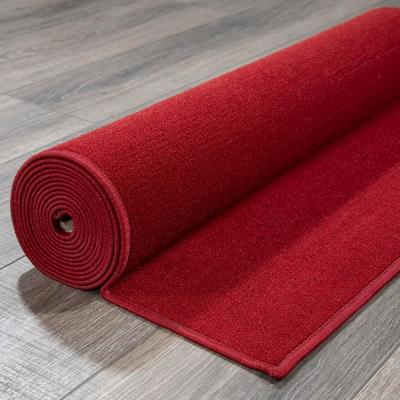 Ottohome Collection Carpet Solid Hallway Wedding Aisle Red Design 2 ft. 7 in. x 10 ft. Non-Slip Runner Rug