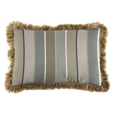 Sunbrella 19 in. x 12 in. Milano Charcoal Lumbar Outdoor Throw Pillow with Heather Beige Fringe