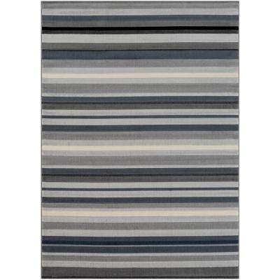Astvin Charcoal 5 ft. 3 in. x 7 ft. 3 in. Striped Area Rug