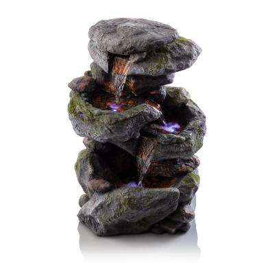 Outdoor 3-Tier Rock Water Fountain with LED Lights