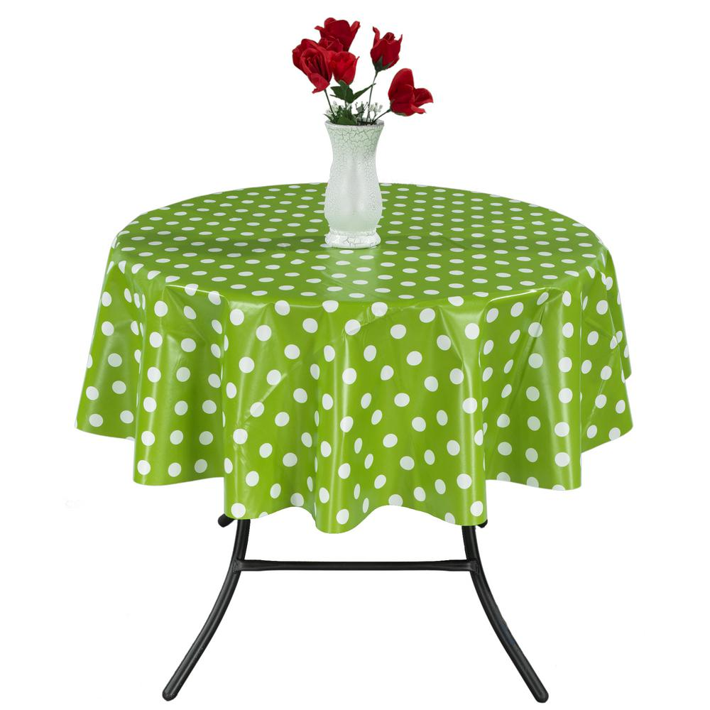55 in. Round Indoor and Outdoor Green Polka Dot Design Tablecloth