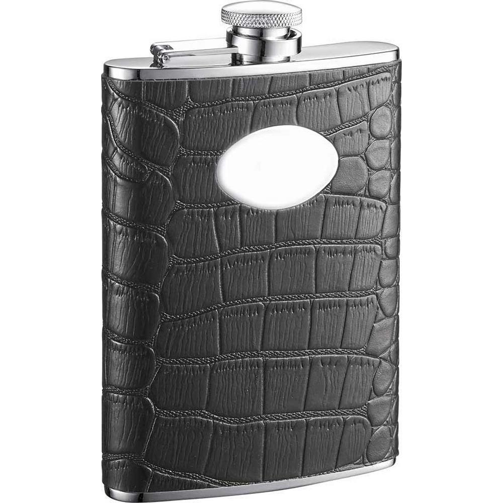 Noir Black Crocodile Leather Hip Flask