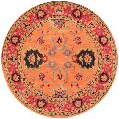 Montesque Orange 8 ft. x 8 ft. Round Area Rug