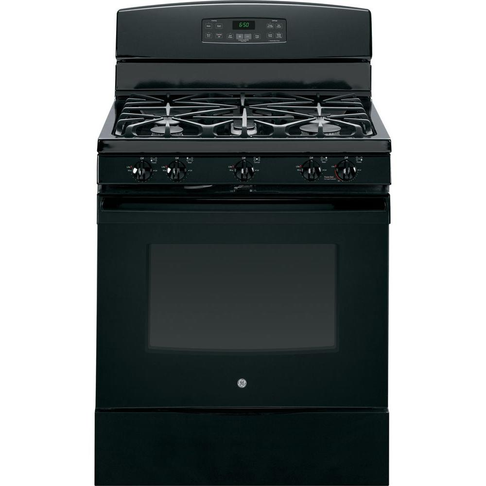 GE 5.0 cu. ft. Gas Range with Self-Cleaning Oven in Black