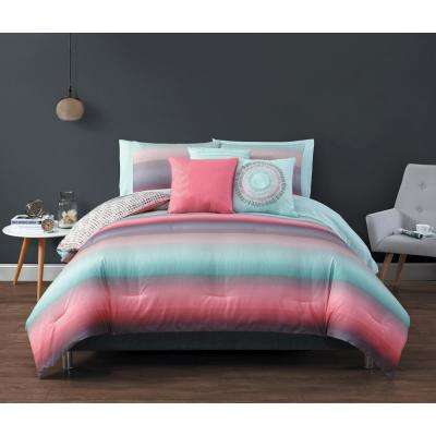 Cypress BIAB 8-Piece Coral and Blue Twin Comforter