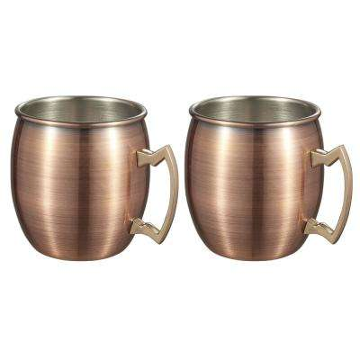 Kremlin 2-Piece Brushed Copper Moscow Mule Mug Set