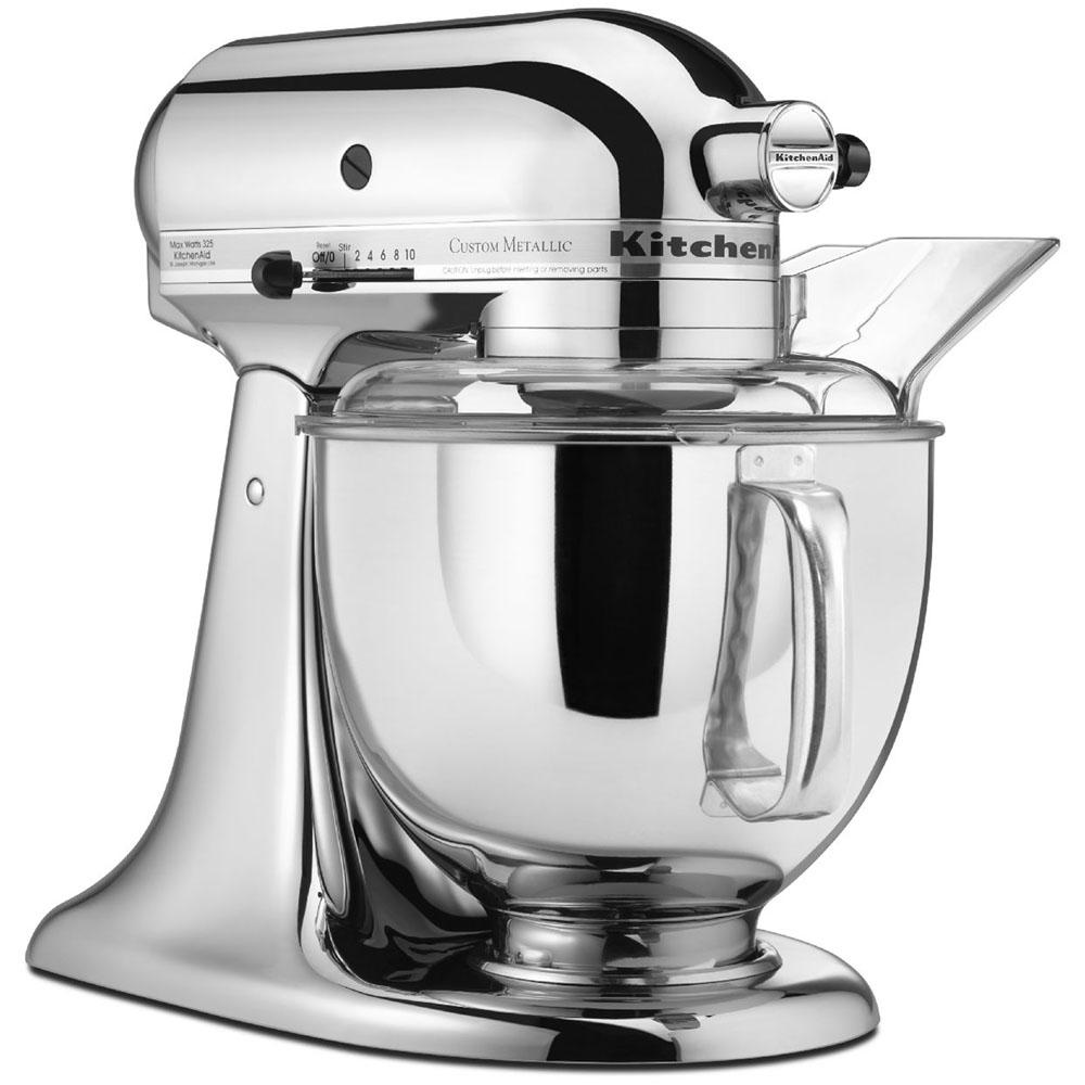 kitchenaid custom metallic 5 qt chrome stand mixer ksm152pscr the home depot. Black Bedroom Furniture Sets. Home Design Ideas