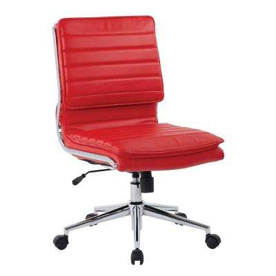 Armless Red Mid Back Manager's Faux Leather Chair with Chrome Base