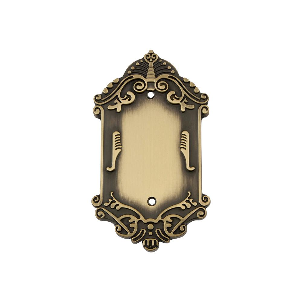 Victorian Switch Plate with Blank Cover in Antique Brass