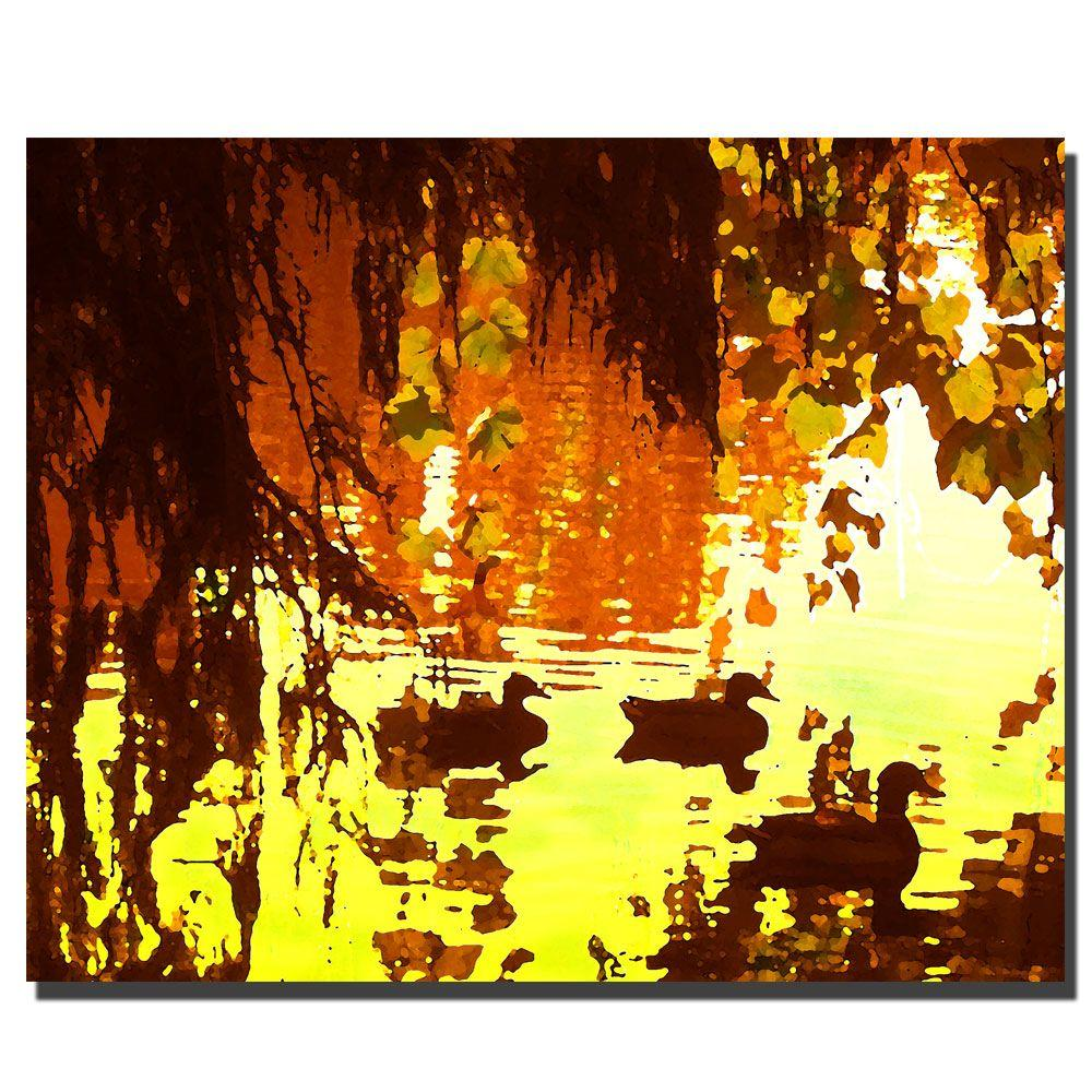 Trademark Fine Art 26 In X 32 In Ducks On Lake Red Light Canvas