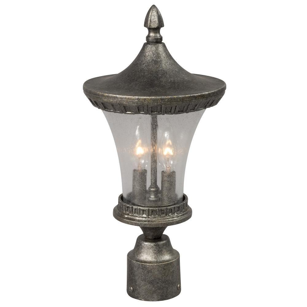 Negron 2-Light Outdoor Antique Silver Post Lantern