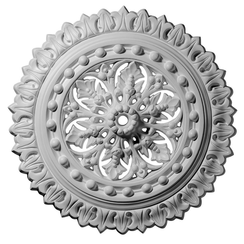 Ekena Millwork 18-1/2 in. x 7/8 in. ID x 1-1/2 in. Sellek Urethane Ceiling Medallion (Fits Canopies upto 1-1/8 in.) Hand-Painted Bronze