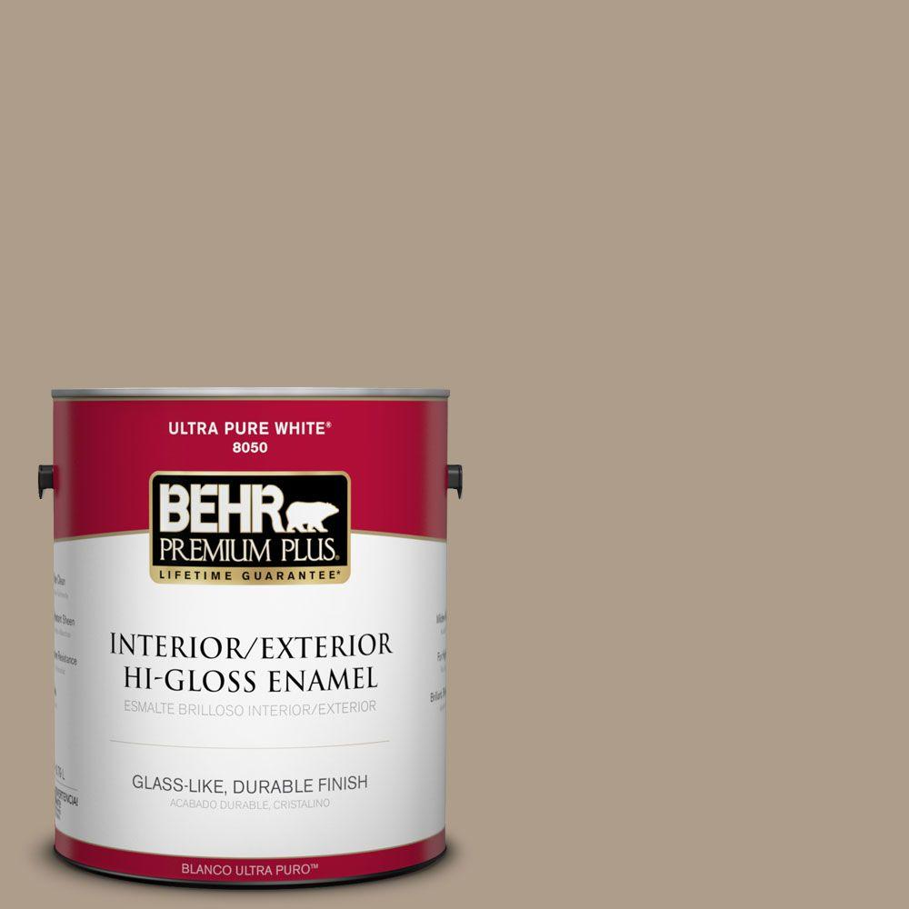BEHR Premium Plus 1-gal. #BNC-14 Over the Taupe Hi-Gloss Enamel Interior/Exterior Paint