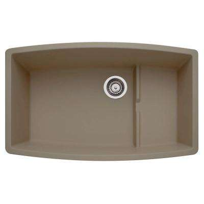 Performa Undermount Granite Composite 32 in. 0-Hole Single Bowl Kitchen Sink in Truffle