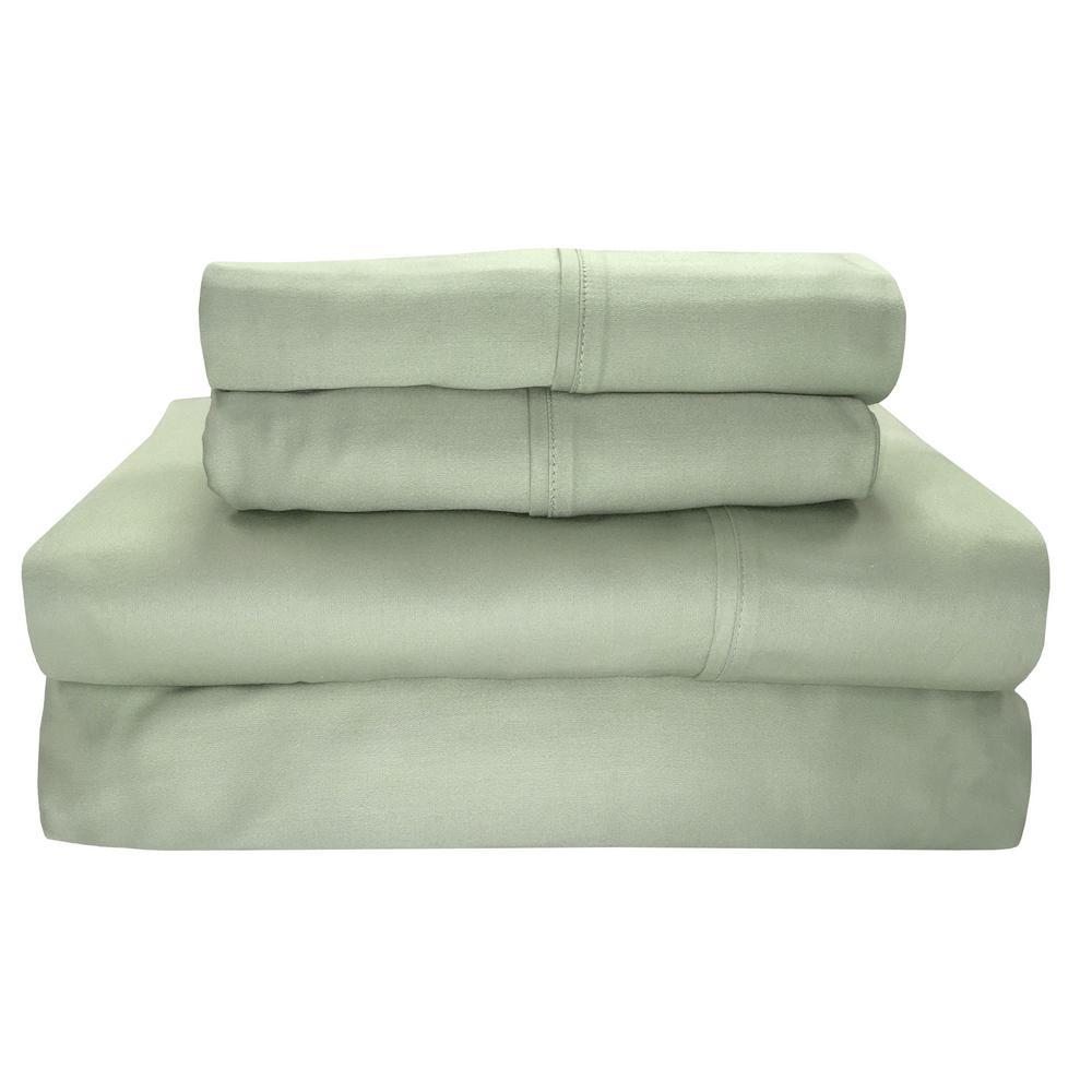 Siesta 4-Piece Sage Solid 300 Thread Count Cotton Queen Sheet Set