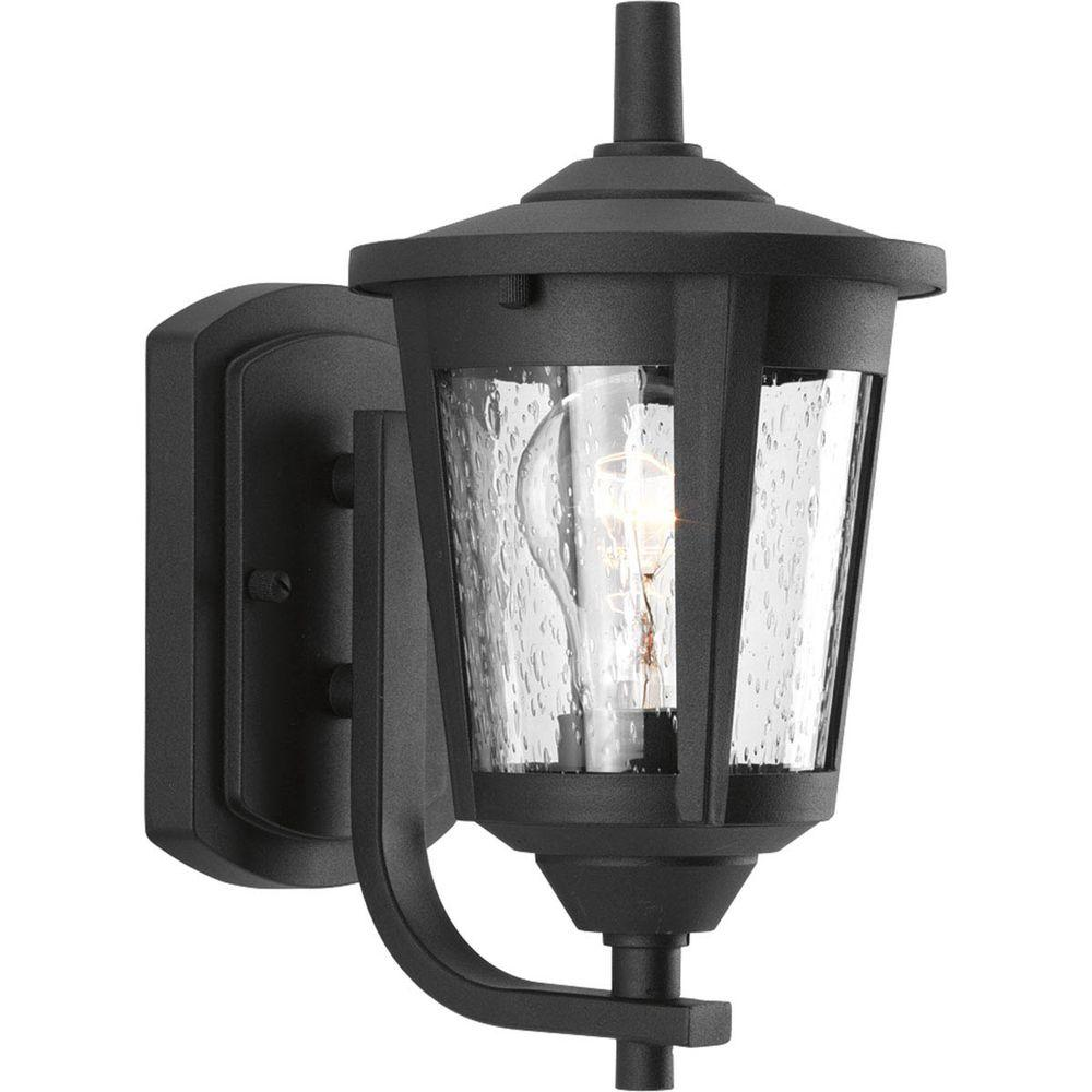 Progress Lighting East Haven Collection 1-Light  Black 10.4 in. Outdoor Wall Lantern Sconce